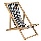 Bo-Camp Urban Outdoor Holz Strand Liege Stuhl Campingstuhl Retro Leinen Optik mit 3 Positionen