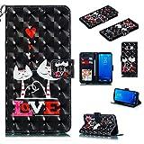 Nadoli Wallet Handyhülle für Galaxy S8,Kreative 3D Liebe Katze Muster Taljereep Ständer Flip Ledertasche Brieftasche Schutzhülle Etui für Samsung Galaxy S8