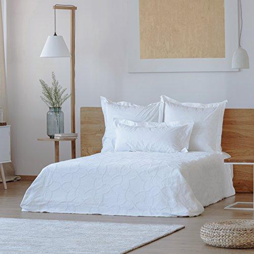 Rose Village  Hochwertige Tagesdecke Sofaüberwurf Design Loulé, Babydecke,100% Baumwolle, Made in Portugal, Farbe: weiß, Größe: 130x180