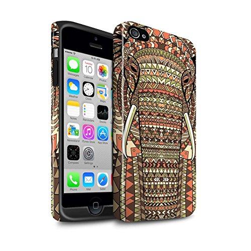 Coque Brillant Robuste Antichoc de STUFF4 / Coque pour Apple iPhone 5/5S / Singe-Couleur Design / Motif Animaux Aztec Collection éléphant-Sépia