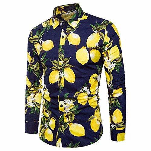VEMOW Herbst Sommer Mid-Season Herrenhemd Gedruckt Slim Fit Langarm Casual Täglichen Party Strand Business Button Shirts Formale Top Bluse(Marine, EU-52/CN-XL)