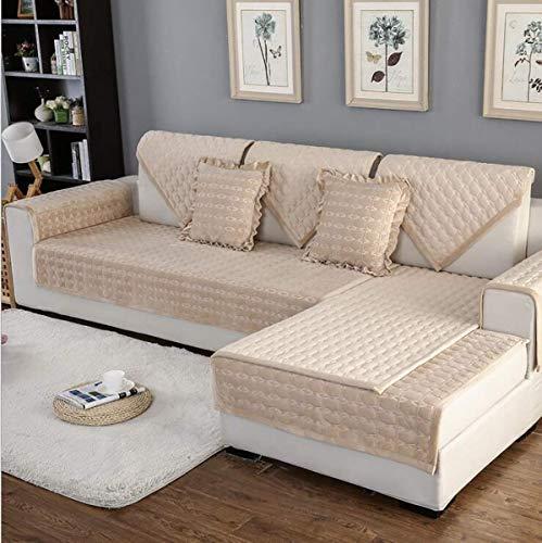 YLCJ Multifunktionssofa mit Vier Jahreszeiten in Plüsch, Sofabezug für Wohnzimmer, Sofafutter für L-förmiges Sofa, Soft Slip, Beige, 1Stück70 * 70cm -
