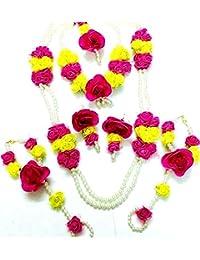 Tingoking Floret Jewellery Pearl Pink Yellow Flower Jewellery Set For Women & Girls (Mehandi/Haldi/Wedding)