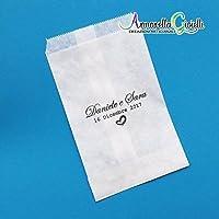 Sacchetti bianchi confettata personalizzati, 30 pezzi, bustine carta bianca, bianco, sacchetti carta confetti, bomboniere