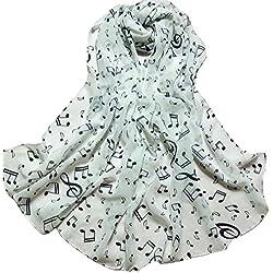 Bufandas para Mujer,Xinan Bufandas Gasa Suave Dama Nota Musical Silenciador (Blanco)
