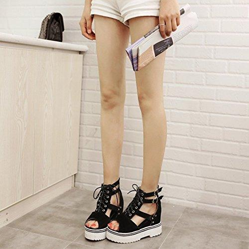COOLCEPT Damen Mode-Event Lace Up Sandalen Open Toe Knochelriemchens Plateau Schuhe Schwarz