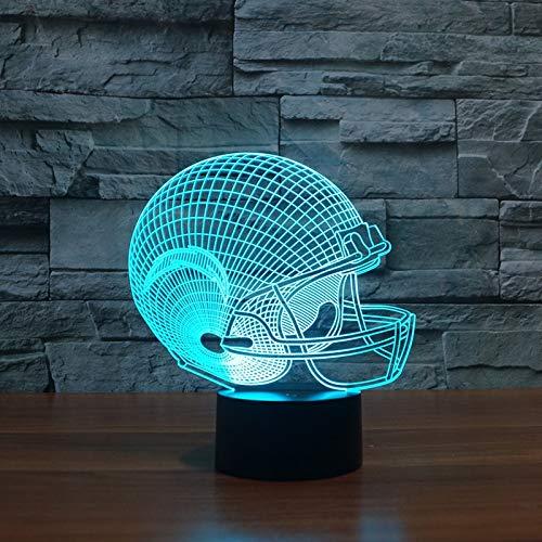 Mozhate 3D Illusion USB Led-Licht Los Angeles Ladegeräte American Football Team Helmkappe Jungen Kind Kinder Fans Geschenke Schreibtischlampe Schlafzimmer,Helmet