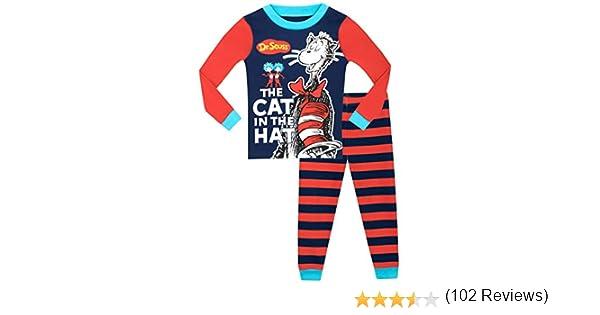 Cat in The Hat Seuss Il Gatto nel Cappello Vestibilitta Stretta Pigiama a Maniche Lunga per Ragazzi Dr
