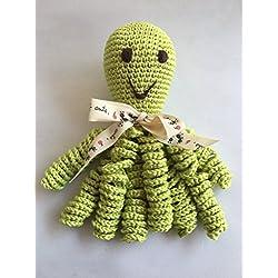 Pulpo de crochet para recien nacidos, pulpo amigurumi para bebés. Color verde pistacho.