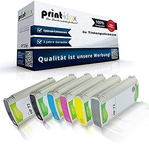 6x Kompatible Tintenpatronen für HP DesignJet T790 24Inch T790 44Inch T790PS 24Inch C9403A C9370A C9371A C9372A C9373A C9374A HP72 HP 72 Magenta Yellow Foto Black Grau Schwarz Cyan - Easy Pro (24 Kompatible Tintenpatrone Schwarz)