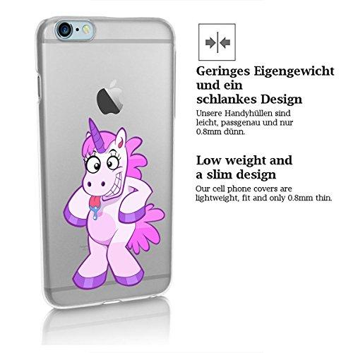 finoo | iPhone 6 Plus / 6S Plus Hard Case Handy-Hülle mit Motiv | dünne stoßfeste Schutz-Cover Tasche in Premium Qualität | Premium Case für Dein Smartphone| Einhorn flauschig Einhorn verrrückt