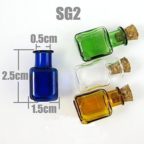 20Stx Glasflaschen Cork Mini-Stopper Anhänger Parfüm mundgeblasenem 4 Farben 11 Style1-11 (Braun, SG2)