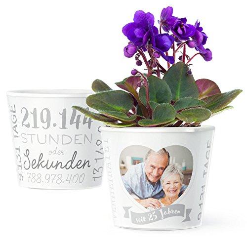 (Facepot Silberhochzeit Geschenk Blumentopf (ø16cm) | Deko Geschenke Zum 25. Hochzeitstag oder Silberne Hochzeit mit Herz Bilderrahmen für Ein Foto (10x15cm) | Glücklich verheiratet - 25 Jahre)