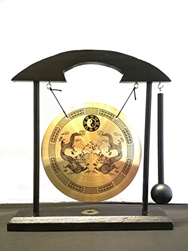 Table Gong Double Dragon ZEN with Taiji Symbols Feng Shui Meditation Desk Bell Home Decor Housewarming Congratulatory Blessing Gift....