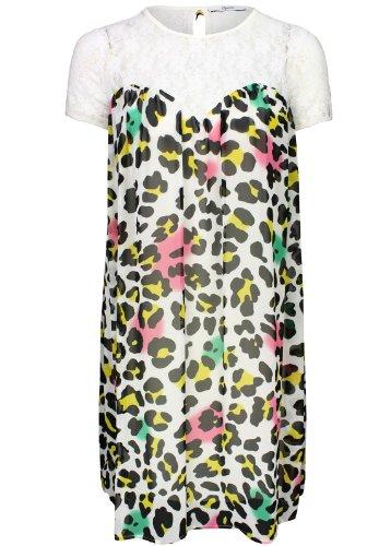 Relish -  Vestito  - linea ad a - Stampa animalier - Maniche corte - Donna Multicoloured - Weiß mit buntem Leo-Print 14