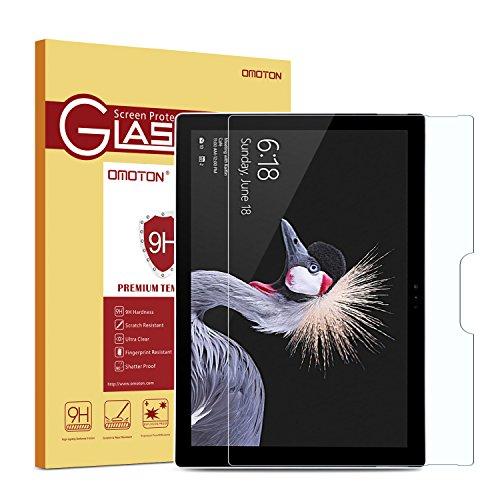 OMOTON Panzerglas Schuztfolie für Microsoft Surface Pro 2017 und Surface Pro 4,Anti- Kratzer, Bläschenfrei ,9H Härte, HD-Klar, [2.5D Runde Kante]