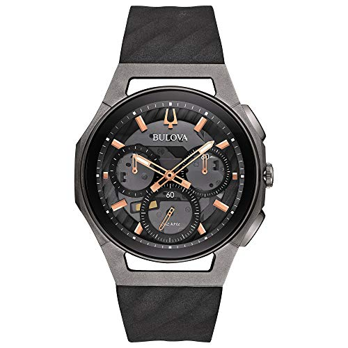 Bulova Curv Chronograph Schwarz und Titan Armbanduhr 98A162