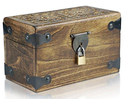 Caja de madera con candado de BRYNNBERG |Cofre del tesoro pirata de es