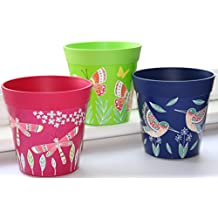 Plant pots, set of 3 colourful pots, blue green and pink planters, indoor/outdoor herb pots