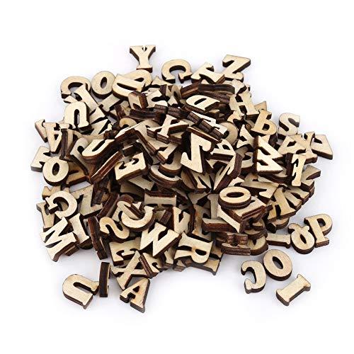 200pcs misto a-z lettere di legno/numeri 0-9 alfabeto in legno per artigianato pendenti decorazione fai da te visualizza bambini giocattoli di apprendimento precoce(#1)