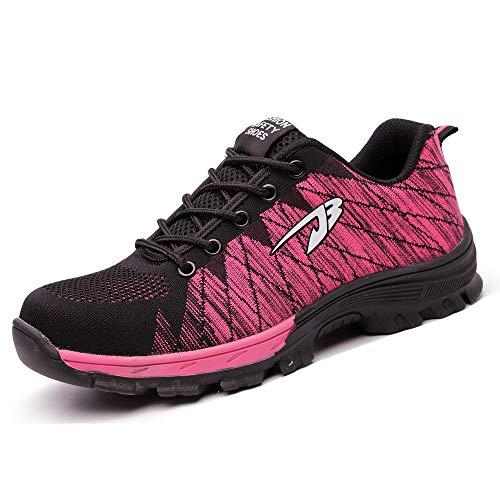 BESKEE Sicherheitsschuhe Herren Damen S3 Arbeitsschuhe Leicht Atmungsaktiv Sneaker mit Stahlkappe & Stahlsohle 35-46