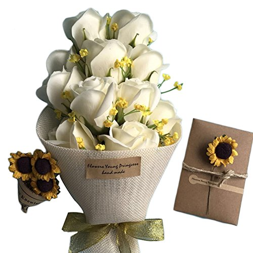 Fiori artificiali, con 11 rose artificiali di sapone profumate, con confezione regalo, per la preparazione fai da te di bouquet nuziali, centrotavola, composizioni per feste, decorazioni domestiche, ideale come regalo per san valentino
