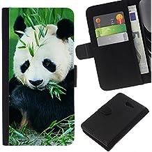 Graphic4You Diseño de Panda Linda Animal Cuero Carcasa Funda Monedero para Sony Xperia M2