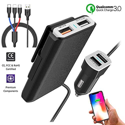ZDZHU Multi-Port QC3.0 USB Autoladegerät Adapter für iPhone XS/Max/XR/X / 8 / Plus/iPad Pro/Luft/Mini/Samsung S10 / 10 + / 9/8 / Note/LG Mehr Gps-adapter Home Wand -