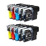 ZR-Printing 980XL Kompatibel Brother LC980 1100 Druckerpatronen mit Chip Hohe Kapazität Kompatibel für Brother 1100 DCP145 C DCP163 C DCP165 C DCP167 C DCP185 C DCP195 C DCP365CN Drucker (4 Schwarz ,2 Blau,2 Rot,2 Gelb)