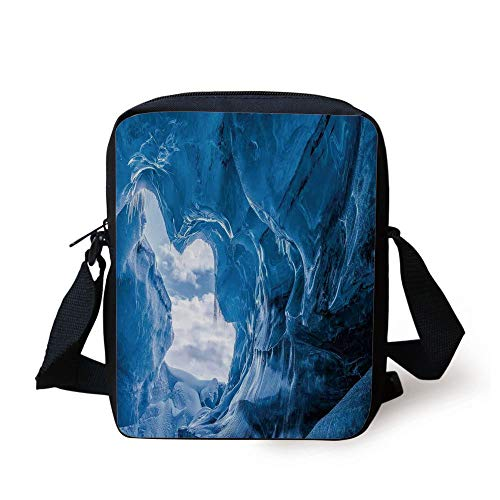 Natural Cave Decorations,Glacier Frozen Chilled Den in Iceland Natural Odd Forms Nordic Scandinavian Image,Blue Print Kids Crossbody Messenger Bag Purse
