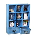 HQQ Regal für Wände, Holz, schwebend, Wandregal, Schrank für Wohnzimmer, Schlafzimmer, Küche, Retro-Look, Industrie-Stil, Dekoration, Aufbewahrungsregal mit 2 Schubladen Blue-9 Grid