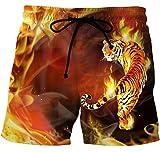 XunXian(TM) Hombre de Ocio Pantalones Cortos para Playa Jugar con La Línea de Cintura Los Animales(China L/pecho:110cm,Tigre)