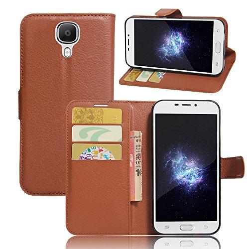 Kihying Hülle für Doogee X9 PRO Hülle Schutzhülle PU Leder Flip Wallet Fashion Geschäft HandyHülle (Brown - JFC01)