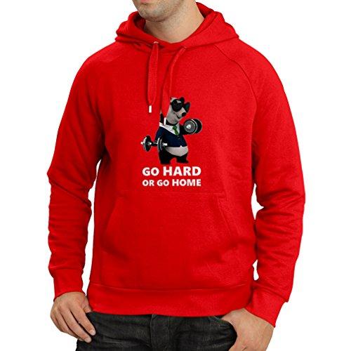 lepni.me Kapuzenpullover Go Hard or Go Home - Boxen, Heben, Fitnessstudio, Fitness - lustige Übungskleidung (XX-Large Rot Mehrfarben)