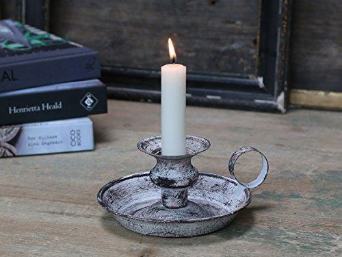 Chic Antique Kerzenständer Leuchter Kammerleuchter Antik Grau Shabby