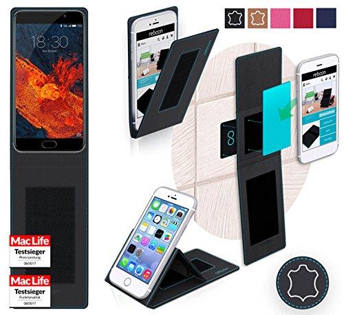 reboon Hülle für Meizu Pro 6S Tasche Cover Case Bumper | Schwarz Leder | Testsieger