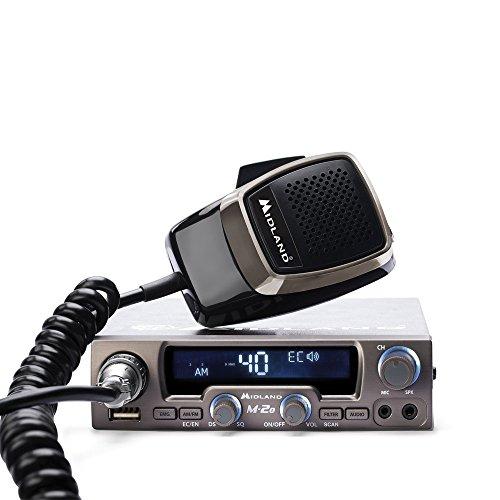 Midland M-20 CB-Funkgerät mit 6-pol. Mikrofon, inkl. Anschlußbuchse für kabelgebundene u. Bluetooth Headsets/Lautsprecher,USB-Ladebuchse, 4 Watt AM/FM - Am / Fm-radio-headset