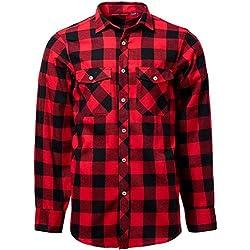 J.VER Hombre Camisas Casuales Ajuste Regular Algodón Manga Larga Camisas a Cuadros Estudiante - Color:Rojo y Negro, tamaño:EU-XXX-Large