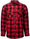 J.VER Hommes Chemises Casual Décontracté Coton À Manches Longues Chemises À Carreaux - Couleur:Rouge & Noir, Taille:EU-Medium