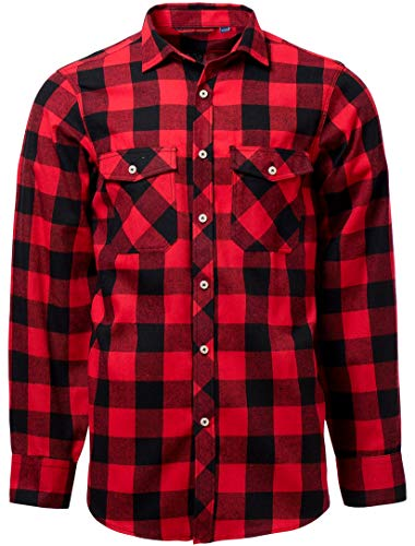 J.VER Men's Casual Shirts Regular Fit Flannel Long Sleeve Button Down Cotton Checked Shirts Stylish - Color:Red&Black, Size:EU-Large-Tall