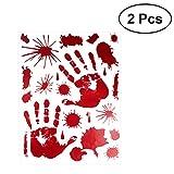 STOBOK Blutige Handabdruck Sticker für Halloween Party Fenster Wanddekoration 2 Stück