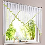 HongYa Kuvertstore transparenter Voile Gardine mit Satinbänder Kräuselband Vorhang H/B 145/300 cm Grün