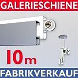 Galerieschiene Bilderschienen Komplett-Set 10m Bilderleiste in weiß - Aufhängesystem für Bilder inkl. Zubehör, individuell erweiterbar