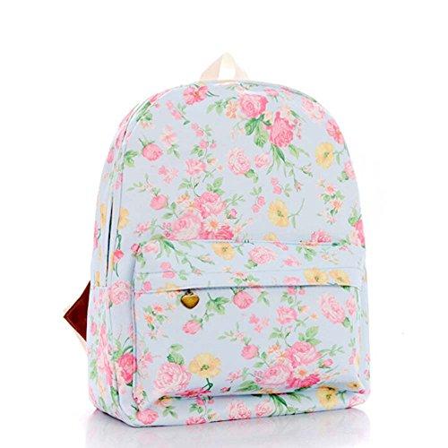 OUFLY Deep Blue & Plum Flower Vintage bedruckte Blumensegeltuch Rucksack Schule Laptop Tasche Outdoor Knapsack Tasche für Frauen Mädchen Jugend Hellblau & Rosa Blumen
