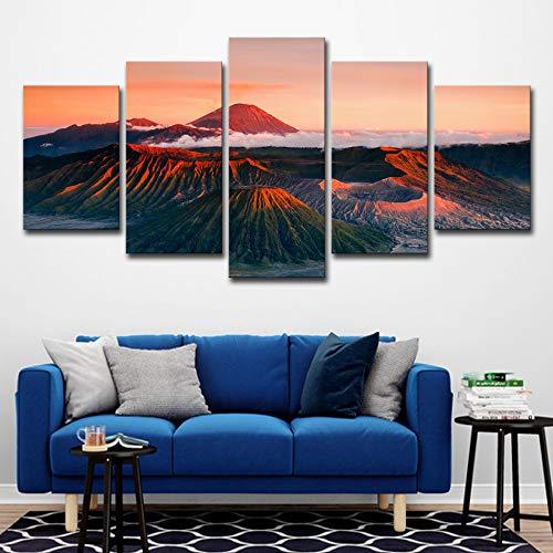 Leinwand Wandkunst Gemälde 5 Stücke Sonnenuntergang Vulkan Berge Landschaft Bilder Wohnkultur Wohnzimmer Rahmen Hd Drucke Poster kein rahmen XXL: 16X24-2P16X32-2P 16X40-1P