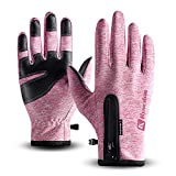 T98 Touchscreen Handschuhe, Fahrradhandschuhe Laufhandschuhe Winter Warme Sporthandschuhe Herren Damen Winddicht Wasserdichter Winterhandschuhe für Radfahren, Wandern, Skifahren (Pink, S)