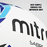 Mitre Sabre Rugby Training Ball, White (White/Blue/Cyan), Size 3