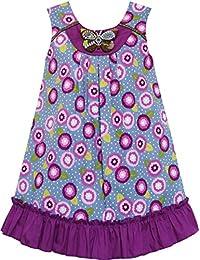 Mädchen Kleid Baumwolle Blumen- Drucken Beaded Schmetterling Lila