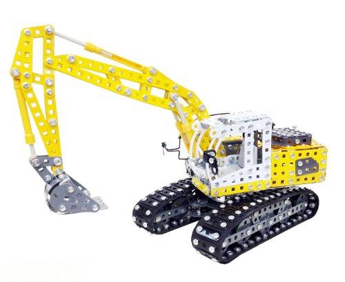 Tronico 10100 - Metallbaukasten Raupenbagger Liebherr mit Schaufel, Maßstab 1:25, Profi Serie, gelb, 1283 Teile