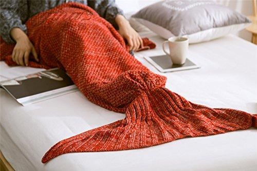 ngfrau Decke gestrickten Strickmuster Fischschwanz Schlafdecke Meerjungfrauschwanz Adults Stil (red) (Fischschwanz-der Film)